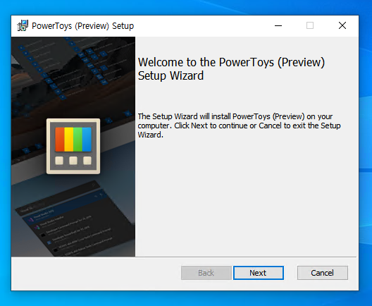 PowerToys (Preview) Setup  Welcome to the Power Toys (Preview)  Setup Wizard  The Setup Wizard will install Power Toys (Preview) on your  computer Click Next to continue or Cancel to exit the Setup  Wizard.